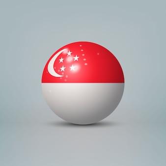 3d realistyczna błyszcząca plastikowa piłka lub kula z flagą singapuru