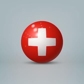 3d realistyczna błyszcząca plastikowa piłka lub kula z flagą szwajcarii