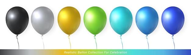 3d realistyczna elegancka, wibrująca, żywa, kolorowa kolekcja balonów do projektowania uroczystości