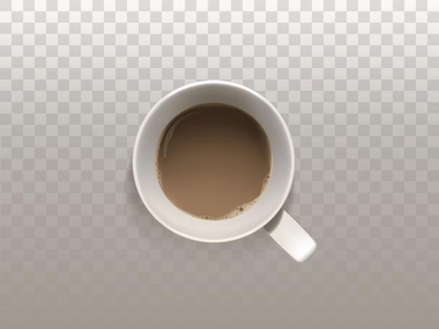 3d realistyczna filiżanka kawy, odgórny widok, odizolowywający na półprzezroczystym tle.