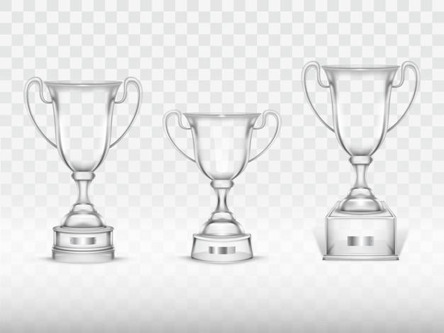 3d realistyczna filiżanka, przejrzysty szklany trofeum dla zwycięzcy rywalizacja, mistrzostwo.