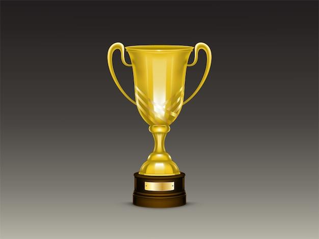 3d realistyczna filiżanka, złoty trofeum dla zwycięzcy rywalizacja, mistrzostwo.