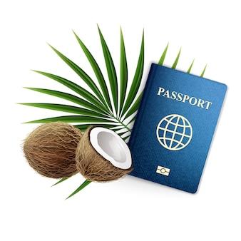 3d realistyczna ilustracja. baner podróżny, paszport z kokosami i gałązką palmową. pojedynczo na białym tle