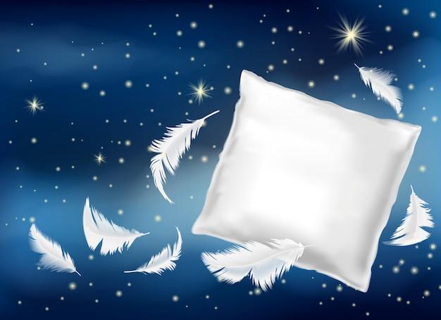 3d realistyczna ilustracja z białą poduszką i piórkami