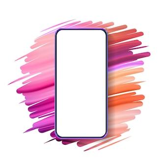 3d realistyczna kolorowa makieta smartfona. szablon do infografiki i projektowania interfejsu użytkownika. ramka na telefon z pustymi szablonami na białym tle.