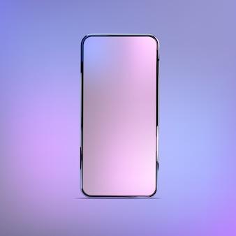 3d realistyczna kolorowa makieta smartfona. szablon do infografiki i projektowania interfejsu użytkownika. ramka telefonu z pustym wyświetlaczem na białym tle szablonów.