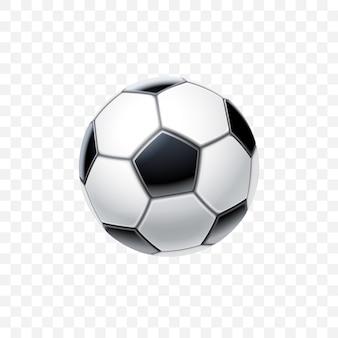 3d realistyczna piłka nożna w czerni i bieli do piłki nożnej na przezroczystym tle