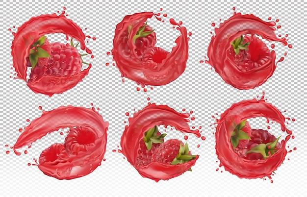 3d realistyczna świeża malina z płynem splash. sok z czerwonych malin. lato jagody zbliżenie. szczegółowa ilustracja wektorowa