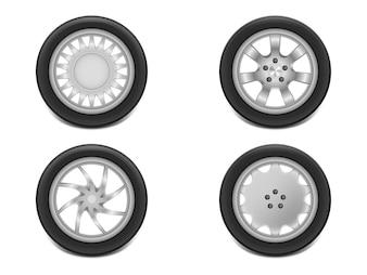 3d realistyczne czarne opony w widoku z boku, błyszczące stalowe i gumowe koła do samochodu, samochodów