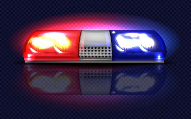 3d realistyczne czerwone i niebieskie migacze. policja, pogotowie ratunkowe lub inne miejskie syreny służbowe