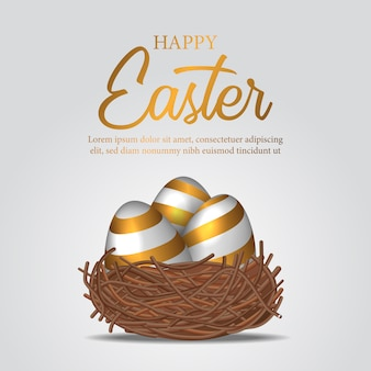 3d realistyczne dekoracyjne jajko ze złotym kolorem na gnieździe ptaka
