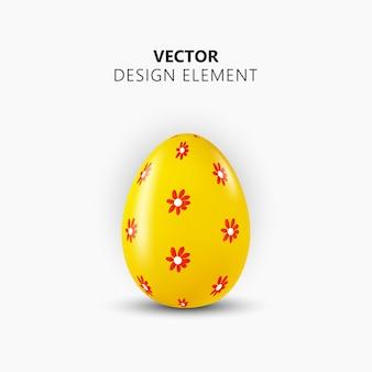 3d realistyczne jajko wielkanocne. szczęśliwy element projektu wielkanoc