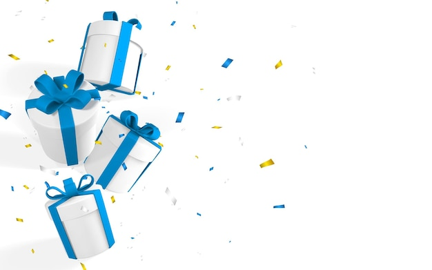3d realistyczne papierowe białe pudełka z niebieską wstążką i kokardą. pudełka papierowe spadające z konfetti na białym tle. ilustracja wektorowa.