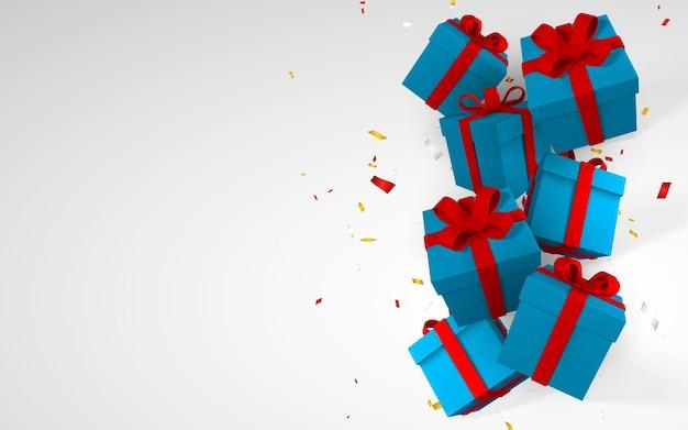 3d realistyczne papierowe niebieskie pudełka z czerwoną wstążką i kokardą. pudełka papierowe spadające z konfetti na białym tle. ilustracja wektorowa.