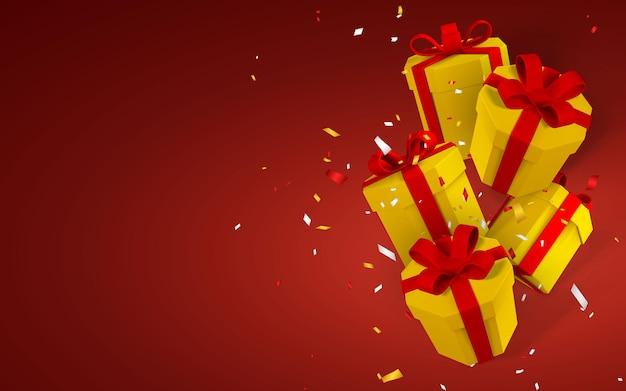 3d realistyczne papierowe żółte pudełka na prezenty z czerwoną wstążką i kokardą. pudełka papierowe spadające na czerwonym tle z konfetti. ilustracja wektorowa.