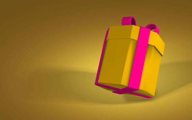 3d realistyczne papierowe żółte pudełko z czerwoną wstążką i kokardą. papierowe pudełko na czerwonym tle z cieniem. ilustracja wektorowa.