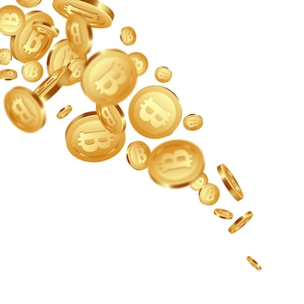 3d realistyczne spadające złote metaliczne bitcoiny, znak kryptowaluty.