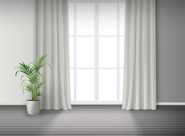 3d realistyczne wnętrze pokoju z dużym oknem ze światłem i zasłonami oraz rośliną doniczkową na podłodze.