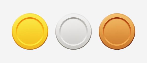 3d realistyczne złote, srebrne i brązowe monety ilustracji wektorowych.
