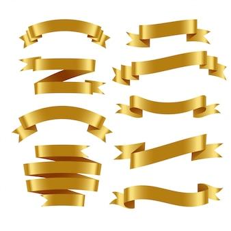 3d realistyczne złote wstążki ustawione