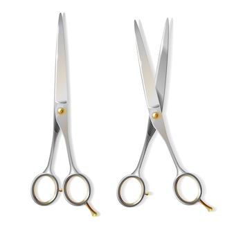 3d realistyczni kruszcowi nożyce z miedzianą śrubą dla fryzjera. błyszcząca stal ostrzy