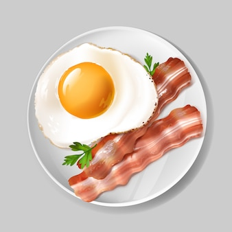 3d realistyczny angielski śniadanie - smakowity bekon, smażący jajko z zieloną pietruszką na bielu talerzu.