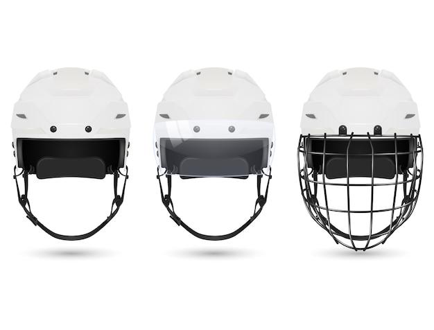 3d realistyczny biały kask hokejowy w trzech odmianach - bez ochrony, z wizjerem i bramkarzami. na białym tle