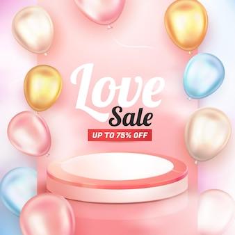 3d realistyczny błyszczący balon i różowe podium na ulotki z banerem miłości