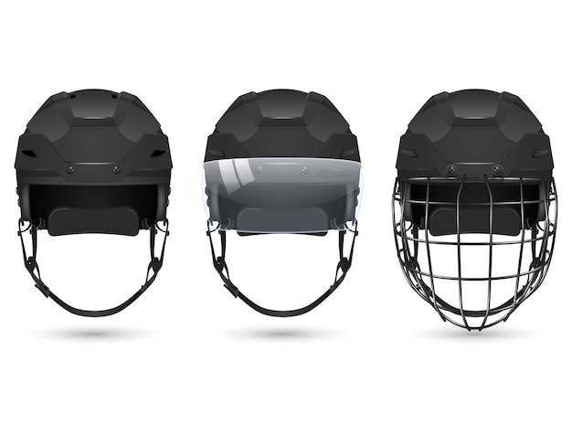 3d realistyczny czarny kask hokejowy w trzech odmianach - bez ochrony, z wizjerem i bramkarzami. na białym tle