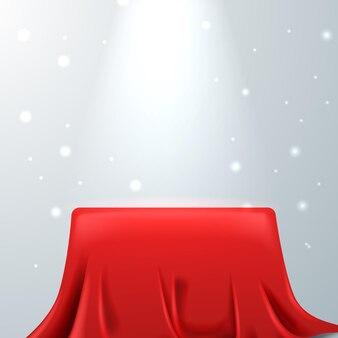 3d realistyczny czerwony jedwab satyna okładka pudełko podium wyświetlacz produktu. królewski luksusowy luksusowy elegancki. białe tło