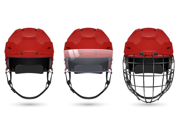 3d realistyczny czerwony kask hokejowy w trzech odmianach - bez ochrony, z wizjerem i bramkarzami. na białym tle