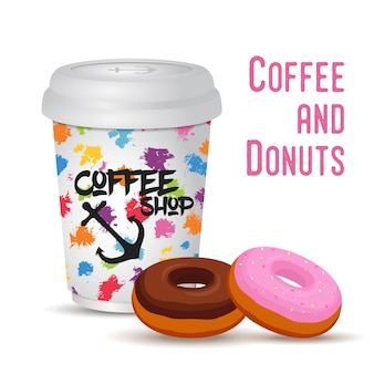 3d realistyczny kawowy kubek z pączkiem