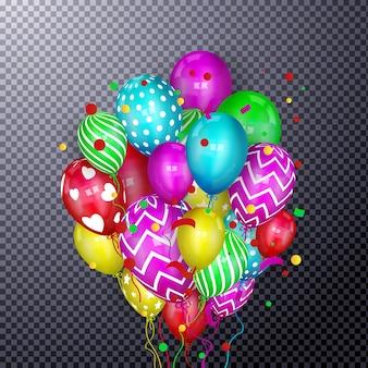 3d realistyczny kolorowy bukiet latających balonów urodzinowych