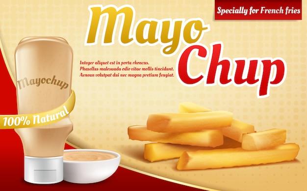 3d realistyczny plakat reklamowy z plastikową butelką z sosem majonezowym. frytki i mix, mikstura