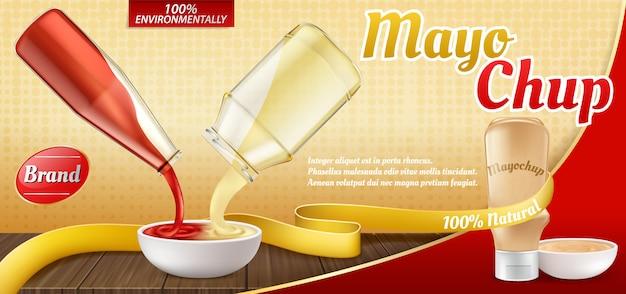 3d realistyczny plakat reklamowy z plastikową butelką z sosem mayochup i gotowaniem.