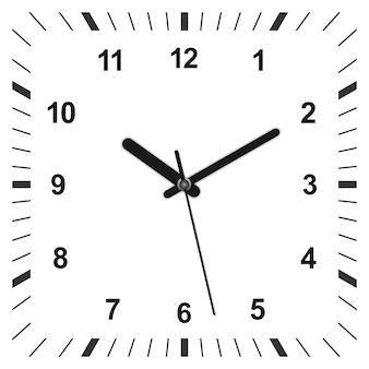 3d realistyczny zegar w kształcie kwadratu.