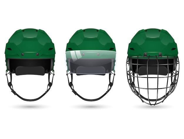 3d realistyczny zielony kask hokejowy w trzech odmianach - bez ochrony, z wizjerem i bramkarzami. na białym tle