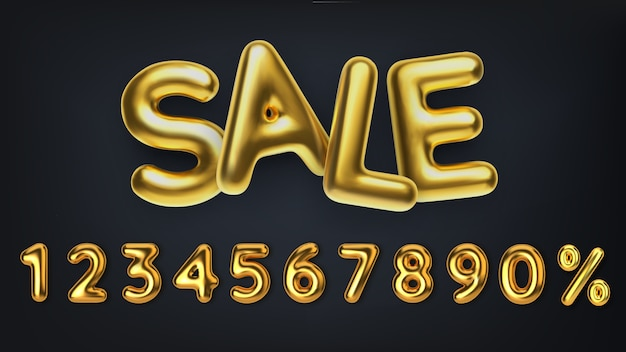 3d realistyczny złoty napis sprzedaż. wyprzedaż promocyjna rabatu wykonana z realistycznych 3d złotych balonów. numer w postaci złotych balonów.