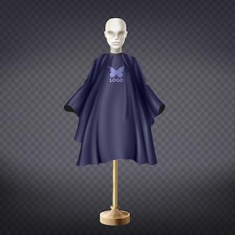 3d realistyczny zmrok - błękitny fryzjera fartuch na białym mannequin odizolowywającym na przejrzystym tle