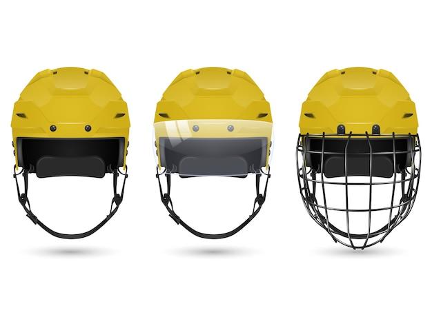 3d realistyczny żółty kask hokejowy w trzech wersjach - bez ochrony, z wizjerem i bramkarzami. na białym tle