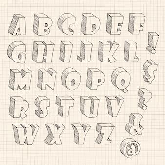 3d ręcznie rysowane wielkie litery i zapisy na papierze.