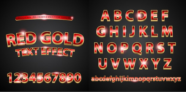3d red gold alphabet lettering text
