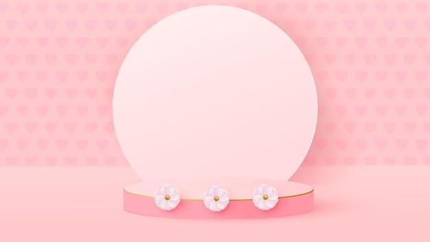 3d render różowej miłości valentine pastelowych etapów tła lub tekstury.