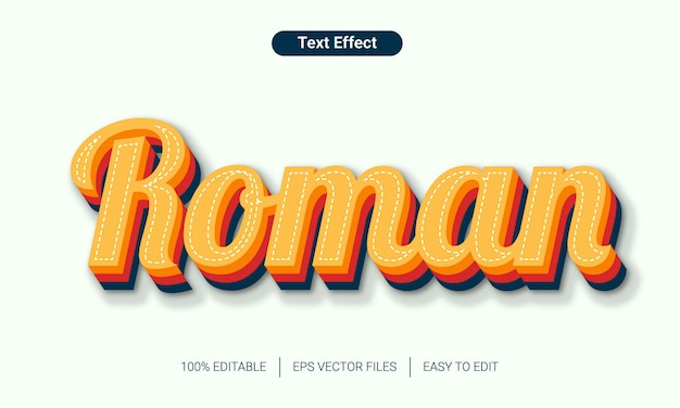 3d retro alfabet rzymski styl tekstu efekt rzymski,