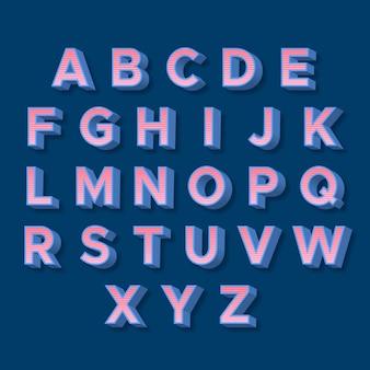 3d retro alfabetu różowe litery z niebieskimi cieniami