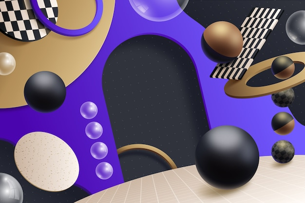 3d retro geometryczny scenografia