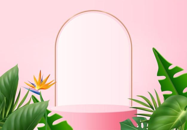 3d różowa scena podium wyświetlacza produktu z geometrycznym tłem platformy zielony liść