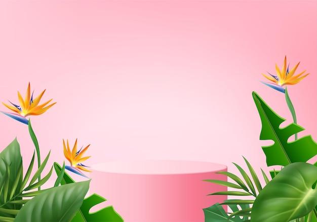 3d różowe tło wyświetlacz produktu scena podium z geometrycznym tłem platformy zielony liść