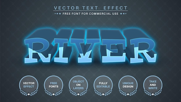 3d rzeka edytuj styl czcionki efektu tekstowego