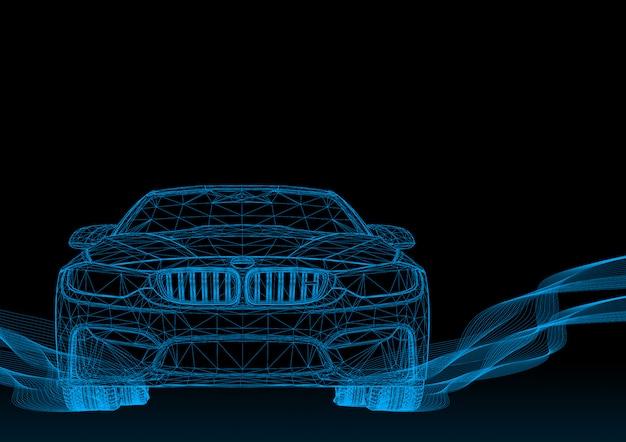 3d samochód z niebieskimi paskami